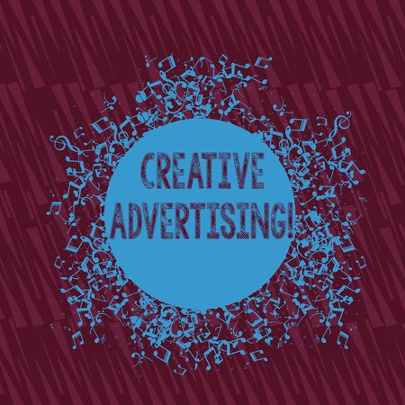Handwriting text writing Creative Advertising. Conceptual photo advertising ideas and brings those ideas into being Disarrayed and Jumbled Musical Notes Icon Surrounding Blank Colorful Circle
