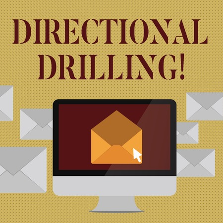 Writing note showing Directional Drilling. Business concept for drilling for oil which the well not drilled vertically Open Envelope inside Computer Letter Casing Surrounds the PC Imagens