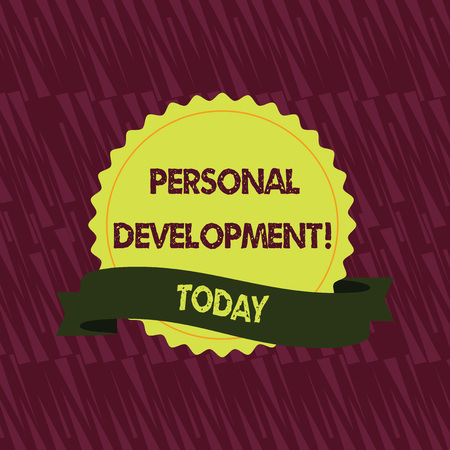 Text sign showing Personal Development. Business photo showcasing process of improving oneself through activities Blank Color Seal Sticker with Jagged Edge and Different Shade Ribbon Strip