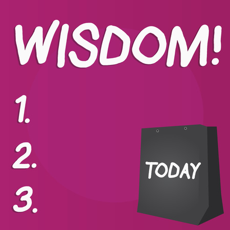 Writing note showing Wisdom. Business concept for quality having experience knowledge and good judgement something Color Gift Bag with Punched Hole on Two toned Blank Space