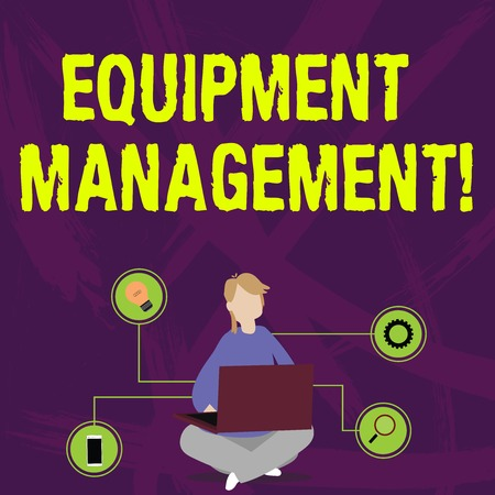 Writing note showing Equipment Management. Business concept for supervision of noncapitalized assets and stock items Woman Sitting with Crossed Legs on Floor Browsing the Laptop