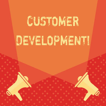 Word writing text Customer Development. Business photo showcasing formal methodology for building business startups Blank Double Spotlight Crisscrossing Upward from Two Megaphones on the Floor
