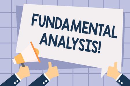 Pisanie notatki przedstawiającej analizę fundamentalną. Koncepcja biznesowa do analizy firmy s to sprawozdania finansowe Ręka trzymająca megafon i wskazujący kciuk w górę balon tekstowy