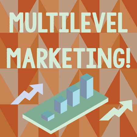 Word writing text Multilevel Marketing. Business photo showcasing marketing strategy for the sale of products or services Colorful Clustered 3D Bar Chart Graph Diagram in Perspective with Two Arrows
