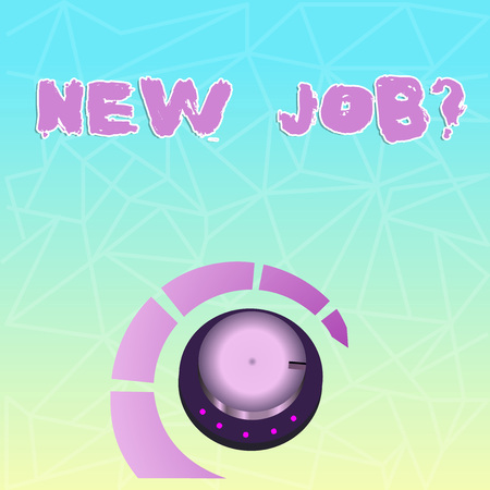 Text sign showing New Job Question. Business photo showcasing formal meeting which someone asked find out if they are suitable Volume Control Metal Knob with Marker Line and Colorful Loudness Indicato