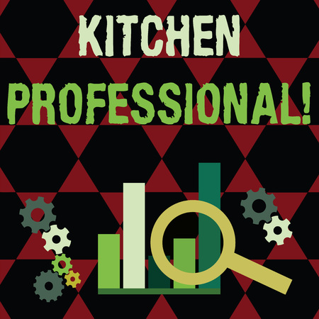 Text sign showing Kitchen Professional. Business photo text equipped to satisfy the needs of a professional chef Magnifying Glass Over Bar Column Chart beside Cog Wheel Gears for Analysis