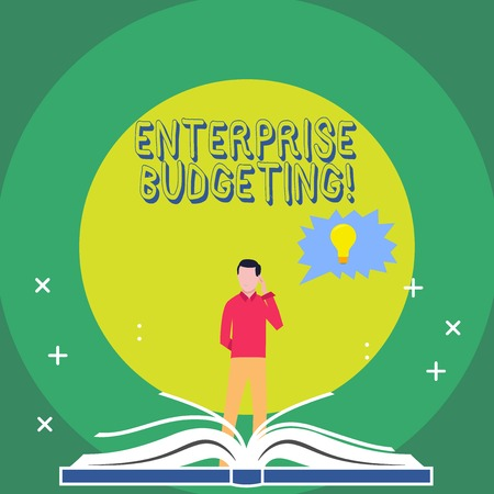 Word writing text Enterprise Budgeting. Business photo showcasing estimated income and expenses associated in business Man Standing Behind Open Book, Hand on Head, Jagged Speech Bubble with Bulb
