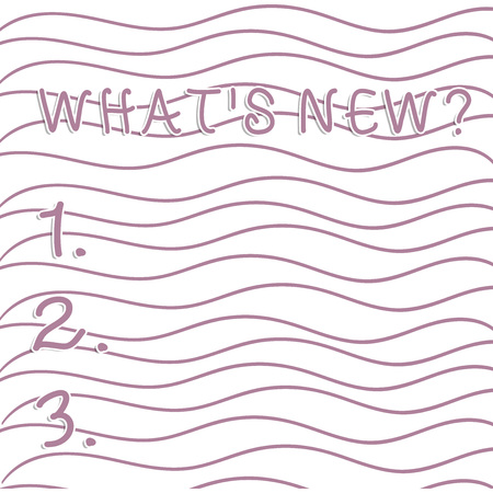 Handwriting text writing What S New Question. Conceptual photo when you ask someone about his current live events actions Horizontal Repetition of Curvy Violet Lines Print Pattern on White Isolated 版權商用圖片