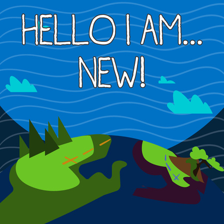 Text sign showing Hello I Am New. Business photo showcasing used as greeting or to begin telephone conversation Mountain View with Marked Hiking Trail and Trekking Tracks for Outdoor Ads