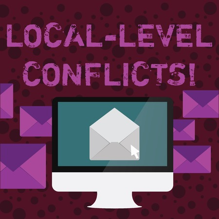 Conceptual hand writing showing Local Level Conflicts. Concept meaning creating local incentives to spoil the process Open Envelope inside Computer Letter Casing Surrounds the PC