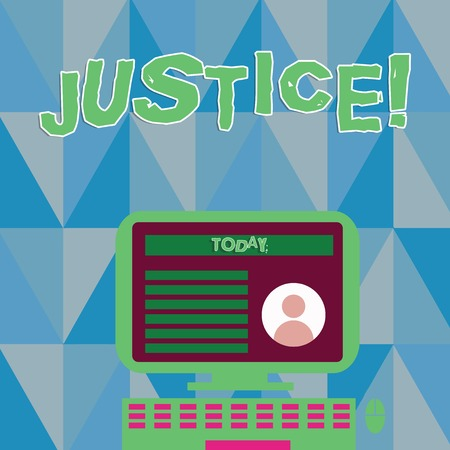 Word writing text Justice. Business photo showcasing impartial adjustment of conflicting claims or assignments Desktop Computer Mounted on Stand with Online Profile Data on Monitor Screen