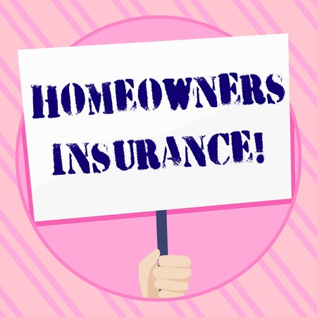 Text sign showing Homeowners Insurance. Business photo showcasing Covers losses and damages to an individual s is house Hand Holding Blank White Placard Supported by Handle for Social Awareness