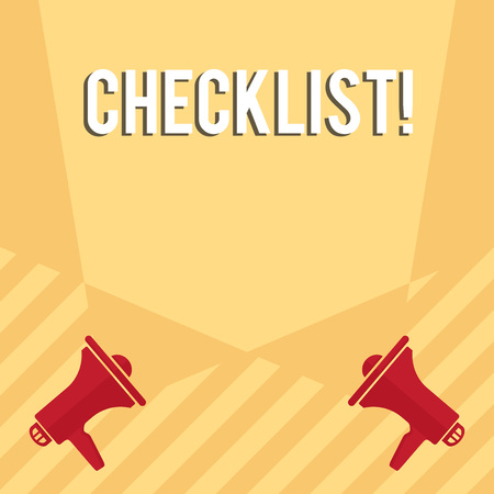 Handwriting text writing Checklist. Conceptual photo list items required things be done or points considered Blank Double Spotlight Crisscrossing Upward from Two Megaphones on the Floor Stockfoto
