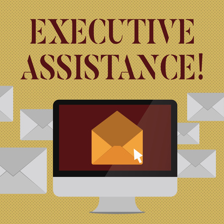 Writing note showing Executive Assistance. Business concept for focus on providing highlevel administrative support Open Envelope inside Computer Letter Casing Surrounds the PC 版權商用圖片