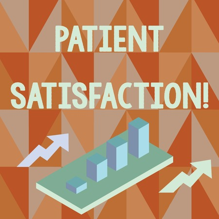 Word writing text Patient Satisfaction. Business photo showcasing measure of the extent to which a patient is content Colorful Clustered 3D Bar Chart Graph Diagram in Perspective with Two Arrows
