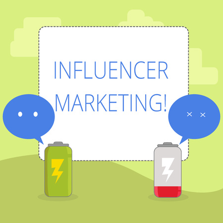 Word writing text Influencer Marketing. Business photo showcasing drive brand message to a specific market of consumers Fully Charged and Discharged Battery with Two Colorful Emoji Speech Bubble
