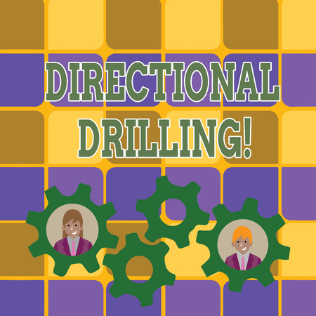 Word writing text Directional Drilling. Business photo showcasing drilling for oil which the well not drilled vertically Two Business People Each Inside Colorful Cog Wheel Gears for Teamwork Event Imagens