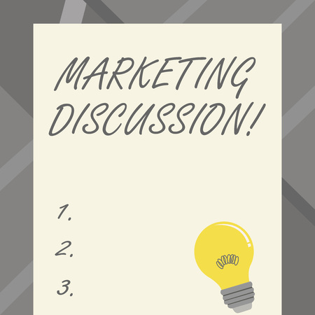 Word writing text Marketing Discussion. Business photo showcasing deliberation by company to promote the buying Incandescent Light Bulb with Filament Inside Resting on Blank Color Paper