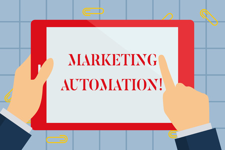 Text sign showing Marketing Automation. Business photo text Software used by company to effectively target customer Hand Holding Pointing Touching Blank Rectangular Color Tablet White Screen