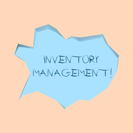 Writing note showing Inventory Management. Business concept for supervision of noncapitalized assets and stock items Pale Blue Speech Bubble in Irregular Cut 3D Style Backdrop