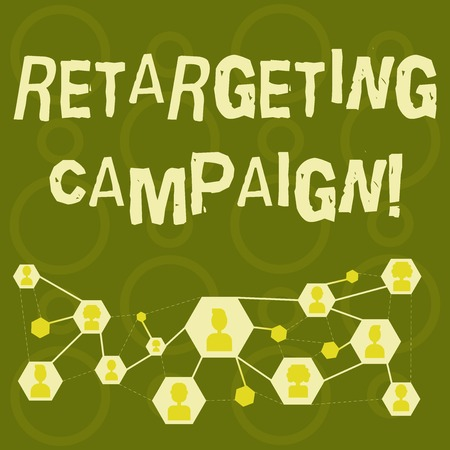 Text sign showing Retargeting Campaign. Business photo text targetconsumers based on their previous Internet action Online Chat Head Icons with Avatar and Connecting Lines for Networking Idea Stock Photo