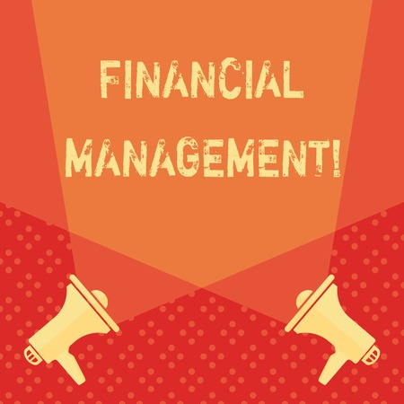 Word writing text Financial Management. Business photo showcasing controlling and monitoring financial resources Blank Double Spotlight Crisscrossing Upward from Two Megaphones on the Floor