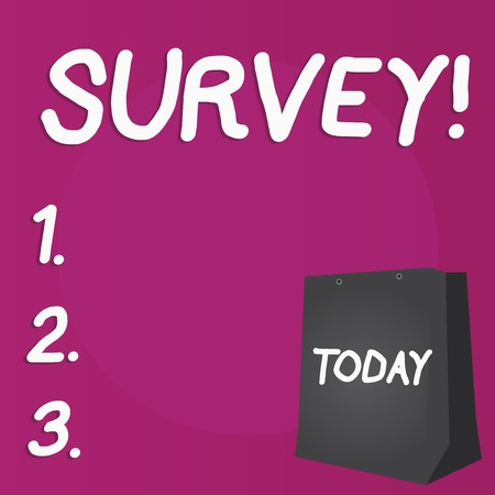 Writing note showing Survey. Business concept for research method used for collecting data from a predefined group Color Gift Bag with Punched Hole on Two toned Blank Space