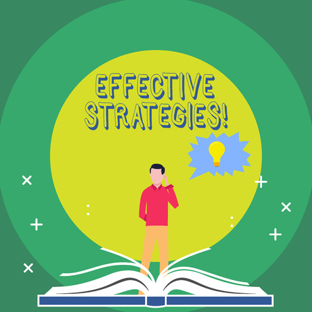 Word writing text Effective Strategies. Business photo showcasing A method or plan chosen to bring about a desired future Man Standing Behind Open Book, Hand on Head, Jagged Speech Bubble with Bulb