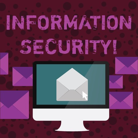 Conceptual hand writing showing Information Security. Concept meaning protected against the unauthorized use of information Open Envelope inside Computer Letter Casing Surrounds the PC