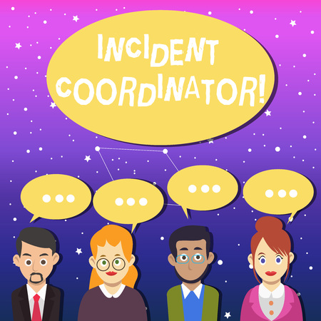 Writing note showing Incident Coordinator. Business concept for responsible for the integrity of the Incident Group of Business People with Speech Bubble with Three Dots Archivio Fotografico