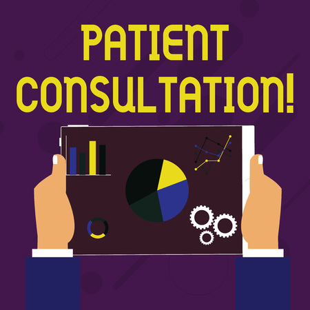 Writing note showing Patient Consultation. Business concept for act of seeking assistance from another physician Hands Holding Tablet with Search Engine Optimization on the Screen 版權商用圖片