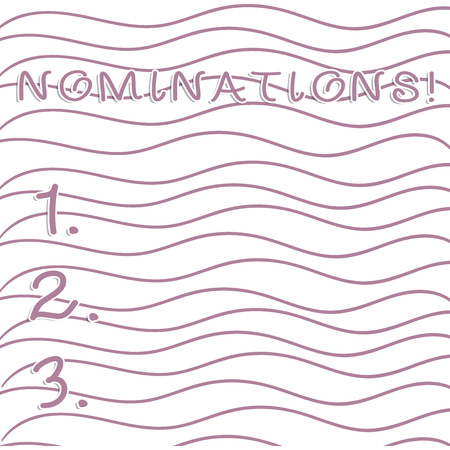 Handwriting text writing Nominations. Conceptual photo action of nominating or state being nominated for prize Horizontal Repetition of Curvy Violet Lines Print Pattern on White Isolated