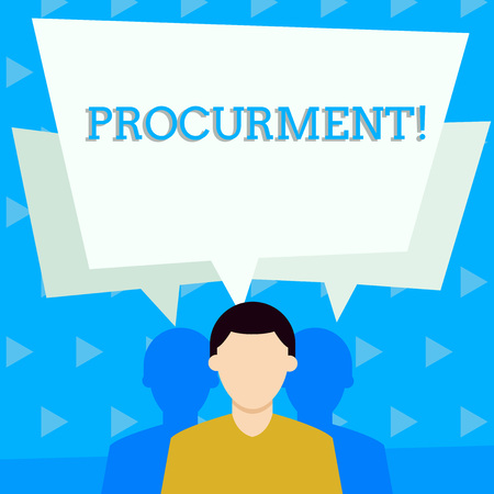Handwriting text Procurment. Conceptual photo action of acquiring military equipment and supplies Faceless Man has Two Shadows Each has Their Own Speech Bubble Overlapping