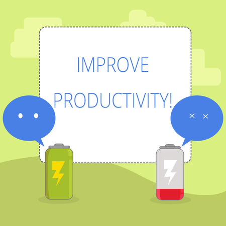 Word writing text Improve Productivity. Business photo showcasing Increase the amount of goods and services available Fully Charged and Discharged Battery with Two Colorful Emoji Speech Bubble