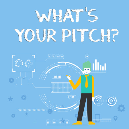 Handwriting text What S Is Your Pitch question. Conceptual photo asking about property of sound or music tone Man Standing Holding Pen Pointing to Chart Diagram with SEO Process Icons