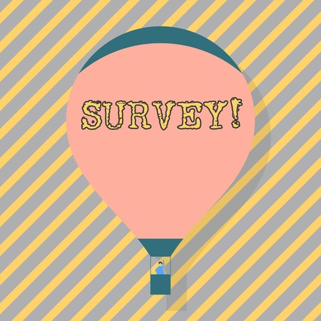Text sign showing Survey. Business photo text research method used for collecting data from a predefined group Blank Pink Hot Air Balloon Floating with One Passenger Waving From Gondola Imagens