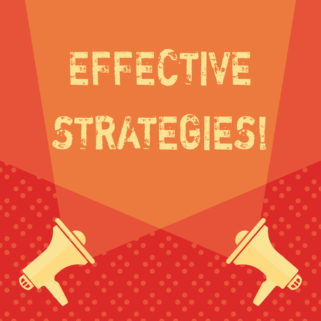 Word writing text Effective Strategies. Business photo showcasing A method or plan chosen to bring about a desired future Blank Double Spotlight Crisscrossing Upward from Two Megaphones on the Floor Stock Photo