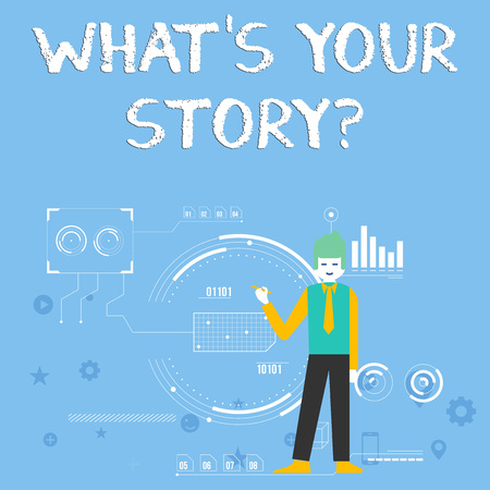 Handwriting text What S Is Your Story question. Conceptual photo being asked by someone about my own journey from beginning till now Man Standing Holding Pen Pointing to Chart Diagram with SEO Process Icons