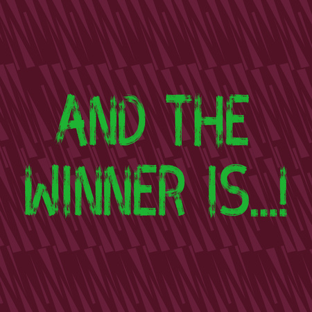 Conceptual hand writing showing And The Winner Is. Concept meaning announcing who got first place at competition or exam Seamless Isosceles Triangle Maroon Tone in Abstract Pattern