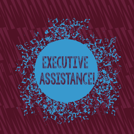 Handwriting text writing Executive Assistance. Conceptual photo focus on providing highlevel administrative support Disarrayed and Jumbled Musical Notes Icon Surrounding Blank Colorful Circle