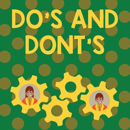 Text sign showing Do S Is And Dont S Is. Business photo showcasing advising Rules or customs concerning some activity Two Business People Each Inside Colorful Cog Wheel Gears for Teamwork Event