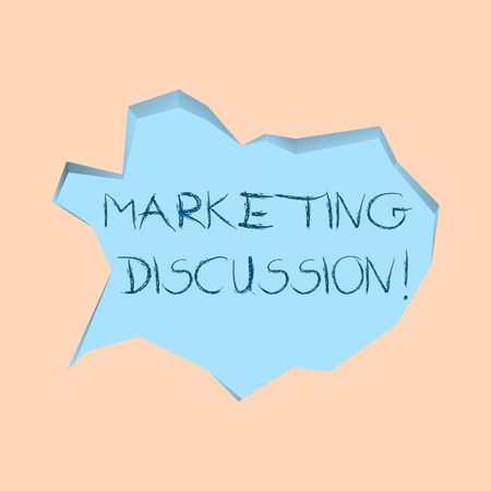 Writing note showing Marketing Discussion. Business concept for deliberation by company to promote the buying Pale Blue Speech Bubble in Irregular Cut 3D Style Backdrop
