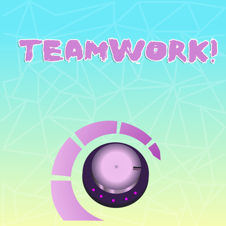 Text sign showing Teamwork. Business photo showcasing combined action of group especially when effective and efficient Volume Control Metal Knob with Marker Line and Colorful Loudness Indicator