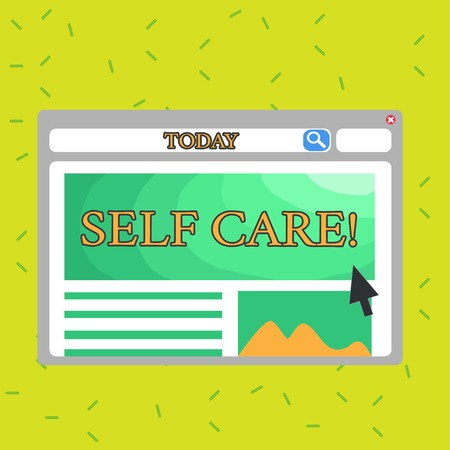 Writing note showing Self Care. Business concept for practice of taking action to preserve or improve ones own health Template Pastel Colorful Website Layout for Homepage Format