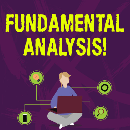 Writing note showing Fundamental Analysis. Business concept for the analysis of a business s is financial statements Woman Sitting with Crossed Legs on Floor Browsing the Laptop Stock fotó