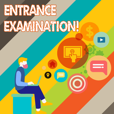 Writing note showing Entrance Examination. Business concept for an exam that you take to be accepted into a school Man Sitting with Laptop and SEO Driver Icons on Blank Space Banque d'images