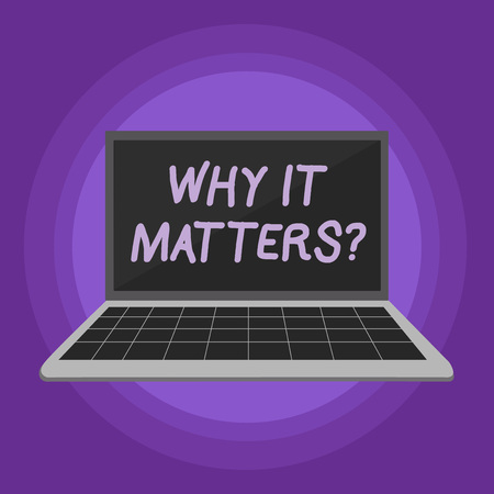 Conceptual hand writing showing Why It Matters question. Concept meaning ask demonstrating about something he think is important Laptop with Grid Design Keyboard Screen on Pastel Backdrop