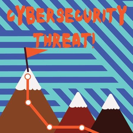 Conceptual hand writing showing Cybersecurity Threat. Concept meaning potential to cause serious harm to a computer system Three Mountains with Hiking Trail and Snowy Top with Flag