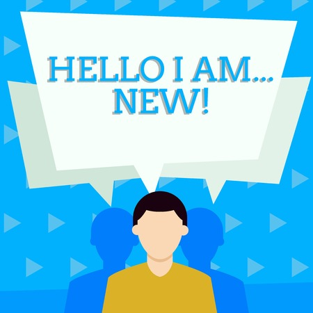 Handwriting text Hello I Am New. Conceptual photo used as greeting or to begin telephone conversation Faceless Man has Two Shadows Each has Their Own Speech Bubble Overlapping