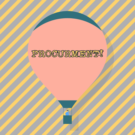 Text sign showing Procurment. Business photo text action of acquiring military equipment and supplies Blank Pink Hot Air Balloon Floating with One Passenger Waving From Gondola